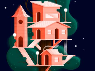 Treehouse wood house architechture orange quiet night tree house sketchbookpro illustration