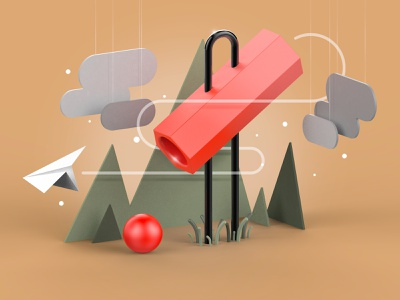 Fly into the game design 3d art colors paperplane landscape illustration