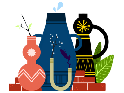 Potao sketchbook pro drawing traditional bricks plants jars colors illustration