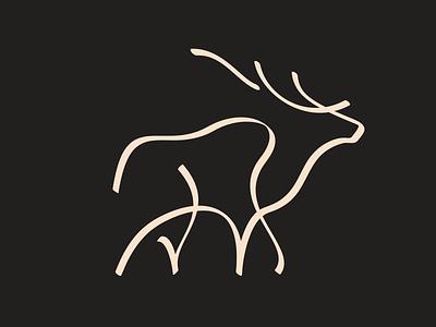 Elk Mark antler bull mark icon wilderness animal hand drawn brush stroke calligraphic illustration jackson wyoming elk
