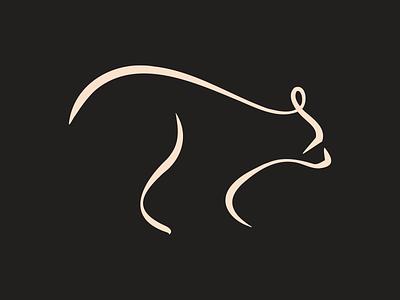 Black Bear logo illustration calligraphic minimal silhouette animal brush stroke beard black bear