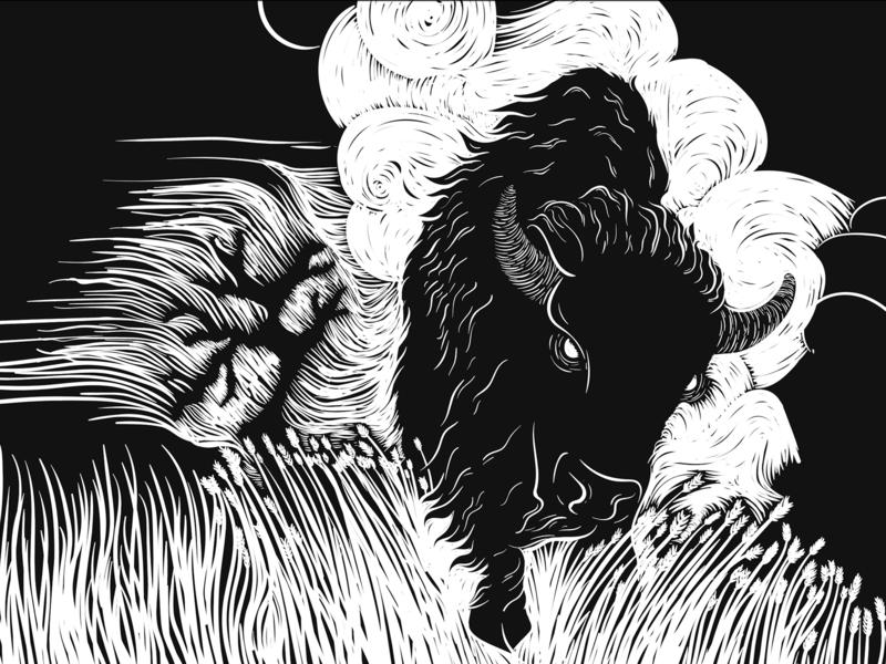 Demon Bison buffalo demon bison linocut wood cut print making illustration prairie wyoming jackson
