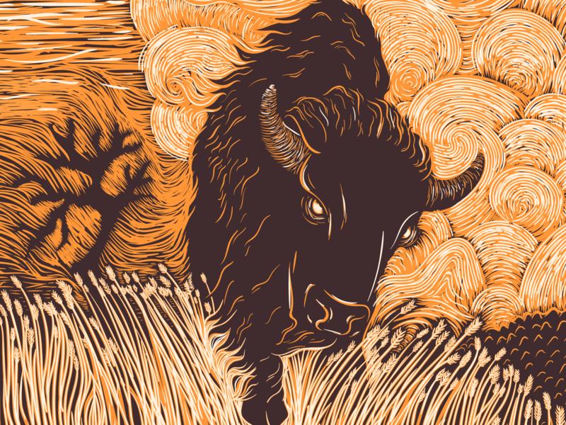 Ghost Bison demon ghost prairie woodcut wood block linocut illustration printmaking wyoming jackson bison