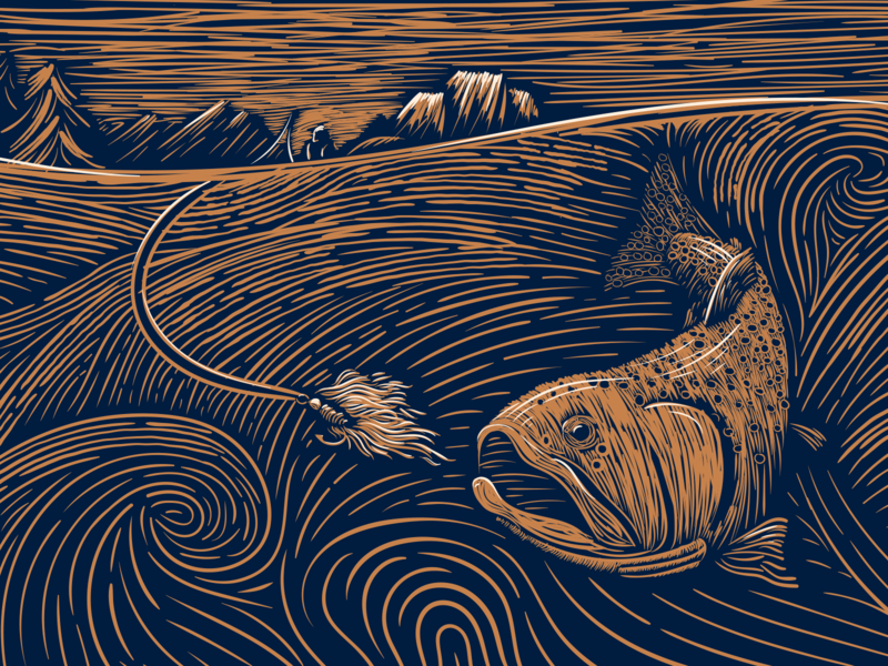 Fly Fishing at Oxbow Bend brewery packaging beer label beer art moran river fly fishing trout fly lure linocut woodcut illustration wyoming jackson