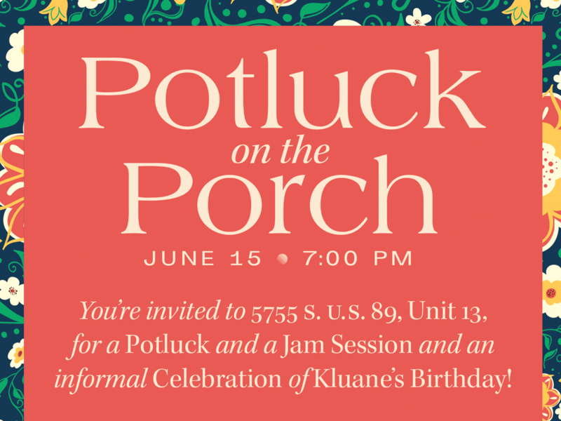 Potluck on the Porch potluck vintage americana plants flowers type invitation invite porch summer typography