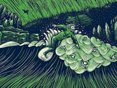 Snake River Pale Can Art hops can label snake river surfing beer packaging illustration wyoming