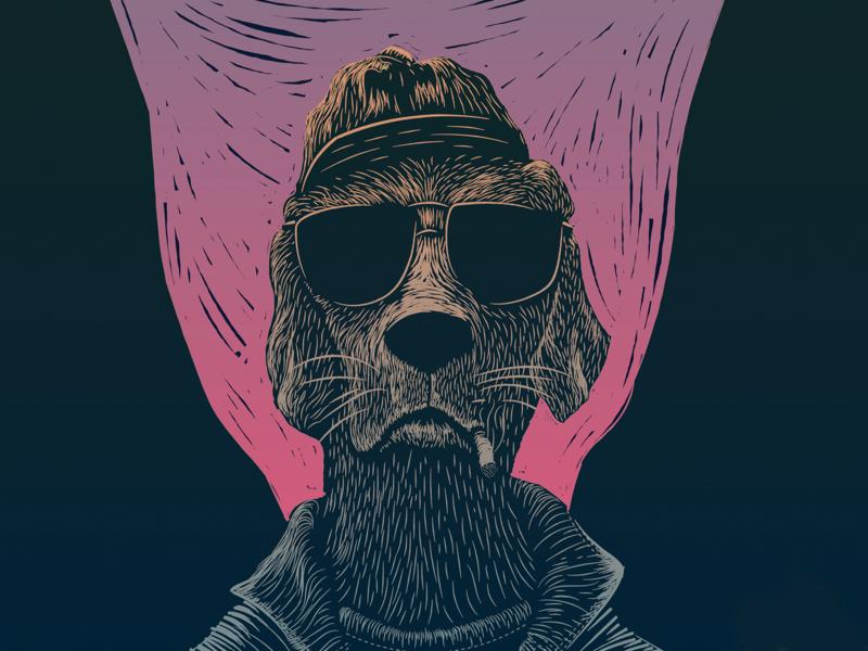 Bad Dog line poster dog illustration sunset badass cigarette dog linoprint print woodcut block print linocut