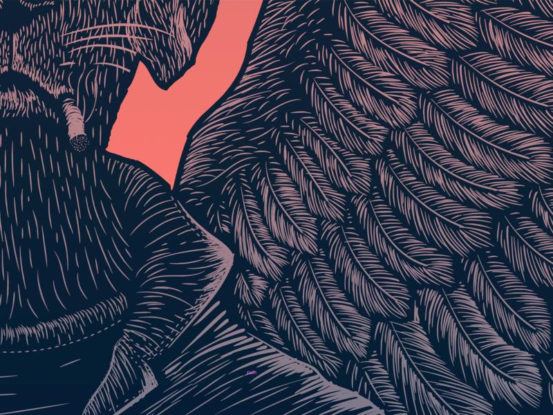 Wings lino print block print linocut woodcut illustration poster wings