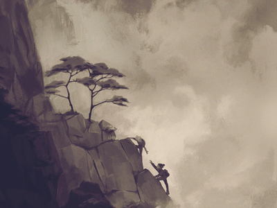 Strong Foundations sepia landscape values trees nature mountain digital painting illustration digital illustration