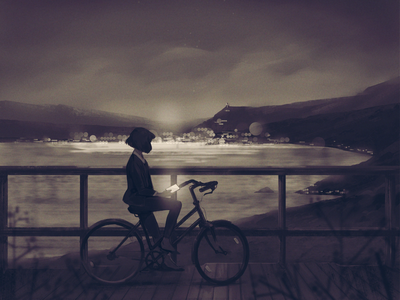 Answer the Why night sky nature contemplate sepia landscape city bicycle art digital illustration illustration