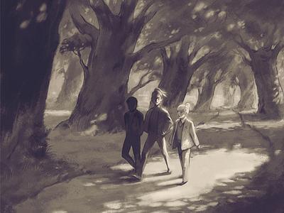 Clear is Kind path trees sepia people walk dappled light park nature art digital illustration illustration
