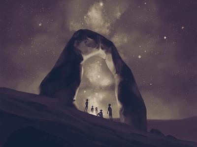 In It Together team starry sky stars desert rock nature night sky digital illustration art illustration