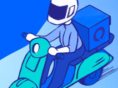 Delivering help... mystery box rider vespa scooter deliver illustration