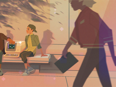 Why customer support shouldn't be limited to one person I retro support clip studio pro flat blog header digital painting digital illustration character design startup bugherd illustration