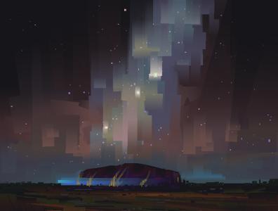 The Rock I sacred star gazing galaxy aurora art digital painting digital illustration illustration
