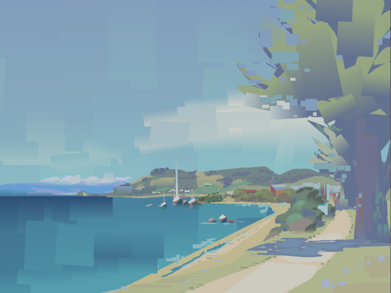 Plein Air - Penguin ocean art digital illustration digital painting sunny beach heavy paint app illustration
