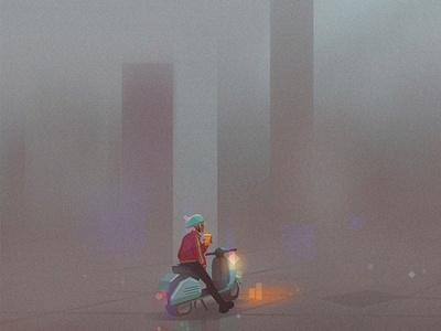 Growth Marketing 1 environment diner scooter flat blog header digital illustration startup bugherd illustration