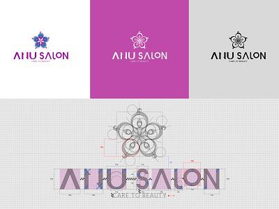 Logo Design - ANU salon nail salon flower salon beauty ratio construction logotype logo