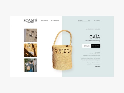 Soame   Product Page user experience desktop design ui ux french style buy add to cart product page ecommerce