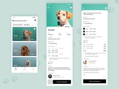 Dog Walking App fee service price request location filter match dog owners dog walking ui ux user experience