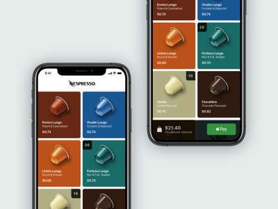 Nespresso Order App user friendly app design application ux  ui user experience design uxui apple pay pay buy ecommerce capsule coffee order nespresso ux app
