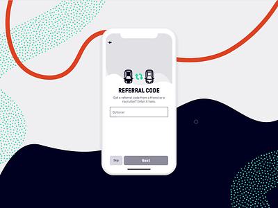 Registration –Enter referral code where next beat app invisionstudio mobile app registration referrals product design animation prototype