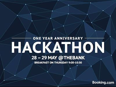 May Hackathon - One Year Anniversary blue triangulation poster hackathon design booking.com