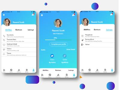 Profil Design UI/UX travel app