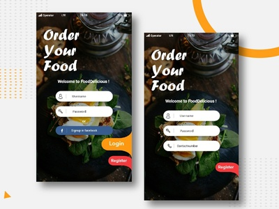 Food Delivery App Login And Register Page