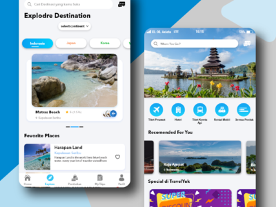 Home and Explore page Travel guide app IOS