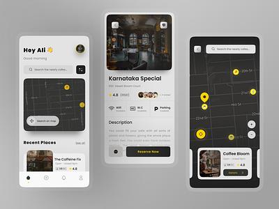 Cafe Finder App typography nearby app design mobile ui shop coffee cafe map finder