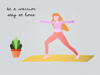 warrior II grain yoga vector illustrator illustration girl