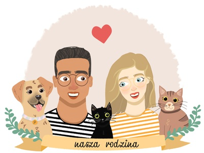 our family animals raster huion portrait autodesk sketchbook illustration