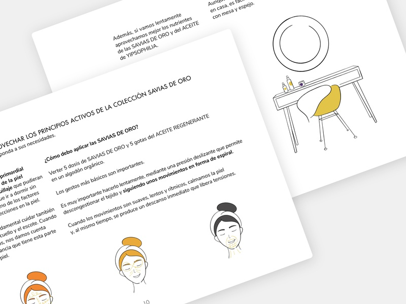 Illustrations for Yipsophilia organic print mirror tutorial brochure cosmetics flat minimal illustration