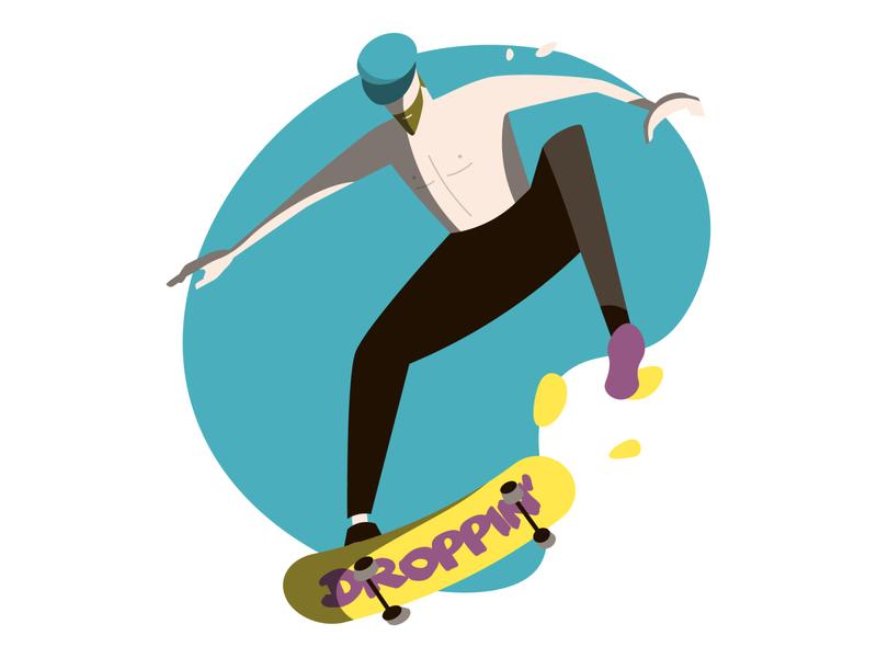 Skater sport character jump skateboard skater skate vector flat minimal illustration