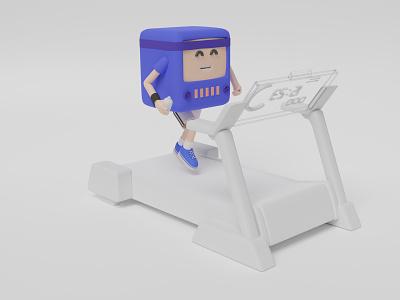 3D TV running on a treadmill c4d cycles cute happy tv fitness sports workout 3d illustration treadmill ui design 3d blendercycles illustration uidesign blender 3d design 3d art