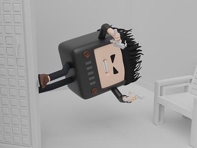 3D Max Payne in parallel Tv world. cute cycles smoke tv angry jump chair mac 10 gun max payne 3d illustration design 3d blendercycles illustration uidesign blender 3d design 3d art