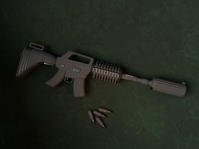 3D M4A1 Gun fight action stylized cute lighting m4 weapon war render ak-47 gun ui design 3d blendercycles illustration uidesign blender 3d design 3d art