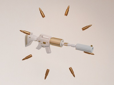 Golden 3D M4a1 fight ak art cycles love war metallic cute bullet gun m4 branding graphic design 3d blendercycles illustration uidesign blender 3d design 3d art