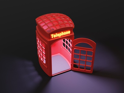 Telephone Booth neon lighting call cycles render cute stylized classic phone booth phone telephone 3d blendercycles illustration blender 3d design 3d art