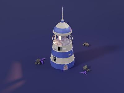 Lighthouse bricks broken low poly door sea lighting plants render rock lighthouse 3d blendercycles illustration blender 3d design 3d art