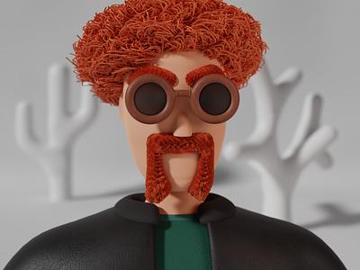 Redhead Character with cool mustache mustache graphic design texture sunglasses glasses stylized leather cute redhead character design character 3d blendercycles illustration blender 3d design 3d art