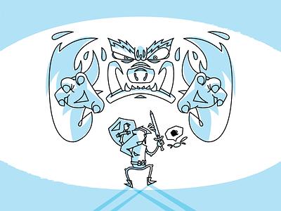 Ganon & Link  vector illustration blue legend of zelda video games