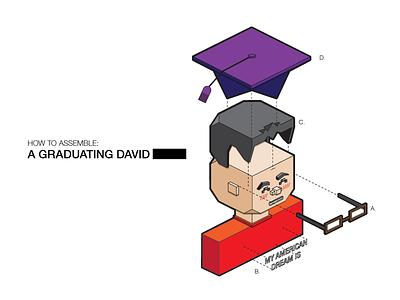 Graduation Card exploding toy polygon illustration isometric