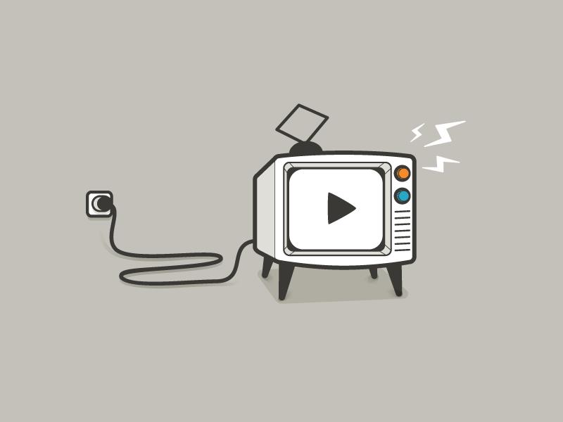 Retro TV lineart outline vector illustrator tv
