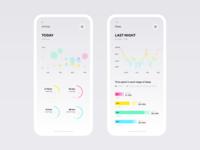 Activity and Sleep Tracker bubble stats graph fitness sport tracker activity sleep chart kagi design ux iphone ui app ios