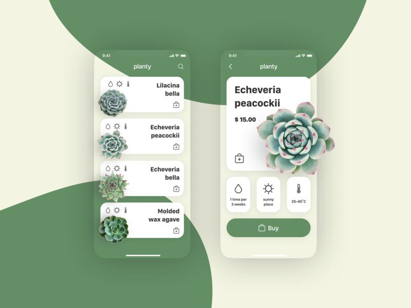 Planty shop nature plants green ui app 2020 design