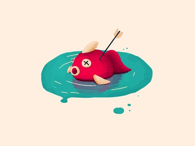 Gone Fishin' arrow dead fish illustration fishing