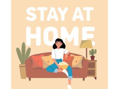 Stay at home covid-19 happy girl prevention quarantine stay safe safe home house coronavirus corona covid-19 covid stay at home stayathome vector illustration design cute