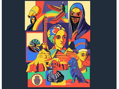 EGYPT folklore pharaoh pyramids egyptian egypt design vectorart illustration